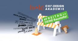 FREITAG_Kreativ_baustelle_beseitigen- JEDE WOCHE WORKSHOP zu Logo, Flyer, Webinaren. Corporate Design, Landingpage, SEO. Personal Branding und mehr